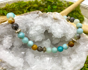 Amazonite Bracelet in pale blue-green, brown and gray