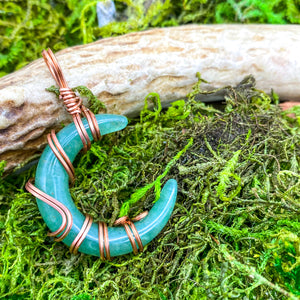 Aventurine Crescent Moon Pendant in Copper