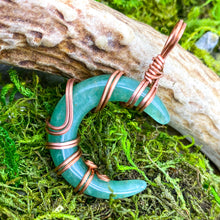 Load image into Gallery viewer, Aventurine Crescent Moon Pendant in Copper