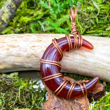 Load image into Gallery viewer, Red Agate Crescent Moon Pendant