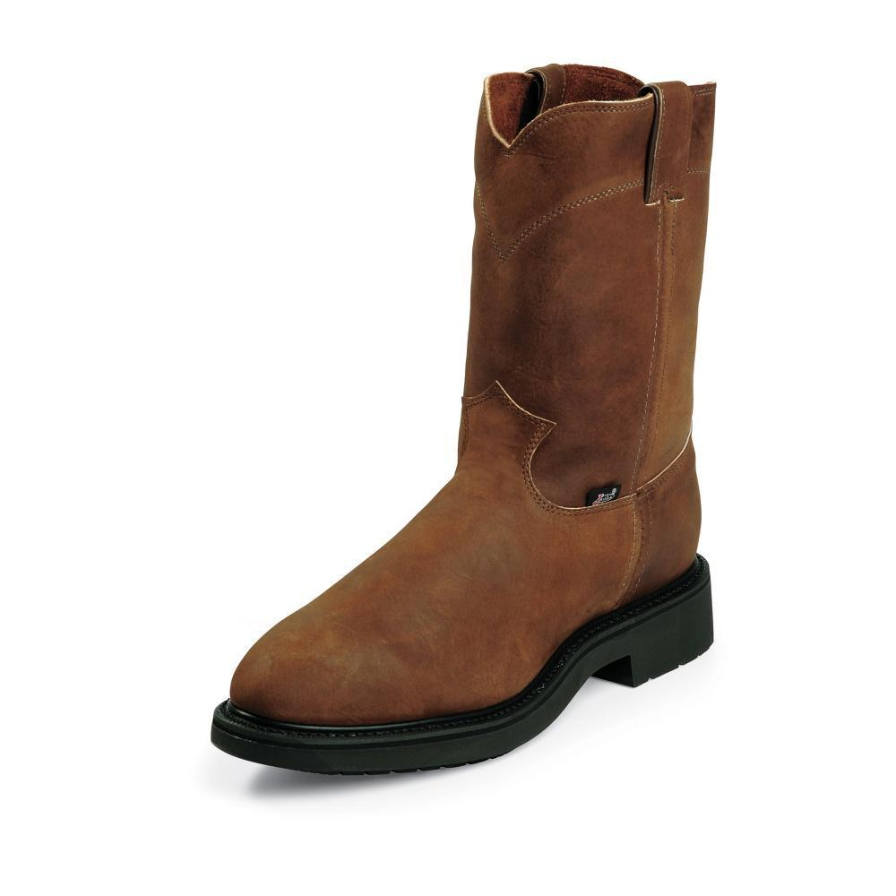 JUSTIN # 4764 MENS CONDUCTOR PULLON BROWN STEEL TOE WORK BOOT