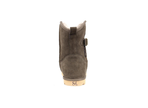 Superlamb Womens Argali Buckle Taupe Short Sheepskin Boots