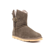 Load image into Gallery viewer, Superlamb Womens Argali Buckle Taupe Short Sheepskin Boots