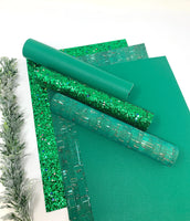 Green cork, glitter and faux leather sheets.