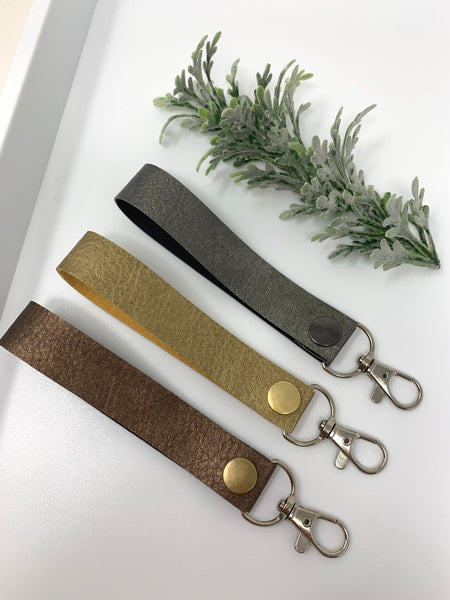 Metallic faux leather keychain with clip hook