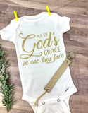 "Baby onesies ""All of Gods Grace in one tiny face"" Gold glitter letters"