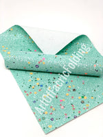 Light TURQUOISE  Glitter sheets with fruits and flowers. P543