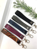 Texture faux leather keychain with clip hook