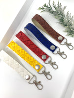 Two tone basketweave texture faux leather keychain with clip hook