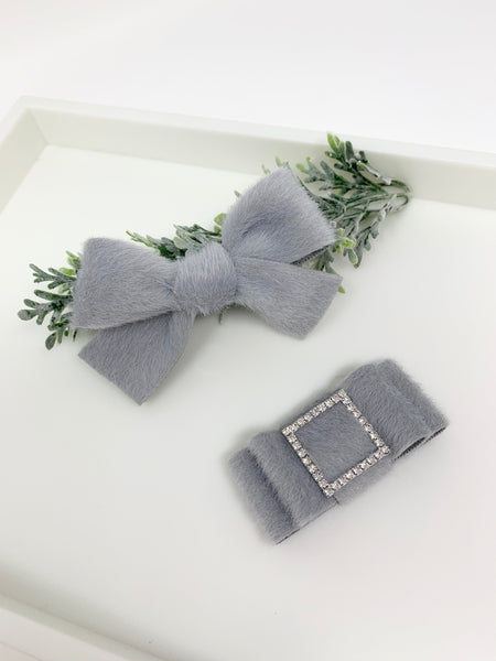 Fur ribbon hand tied bow or  folded bow baby bow