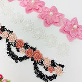 Embroidery floral trim. Ribbon decoration. DIY supplies.