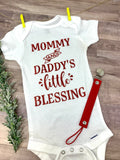 "Baby onesies ""Mommy and Daddy's little Blessing"" red glitter"