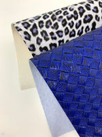 Two tone basketweave and leopard faux leather sheets