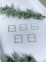 Shiny Square 5 pc silver Rhinestones