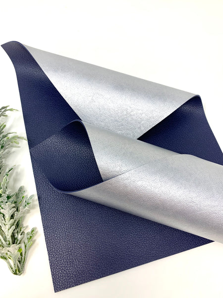 NAVY/SILVER Double Sided faux leather sheets