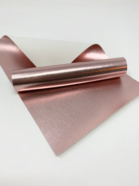 Rose gold shiny faux leather sheets