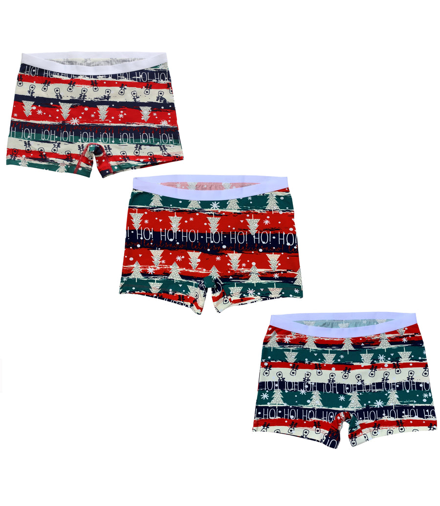 EVARI Women's Boyshort Panties Comfortable Cotton Underwear Pack of 3(Christmas Style)