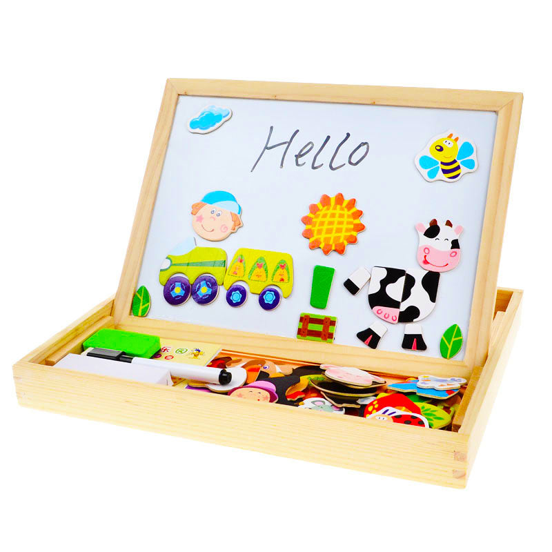 BOHS Multifunctional Drawing Board with Magnetic Puzzle Multi Patterns Wooden Toys for Kids (Retail Package for Gift or Storage)