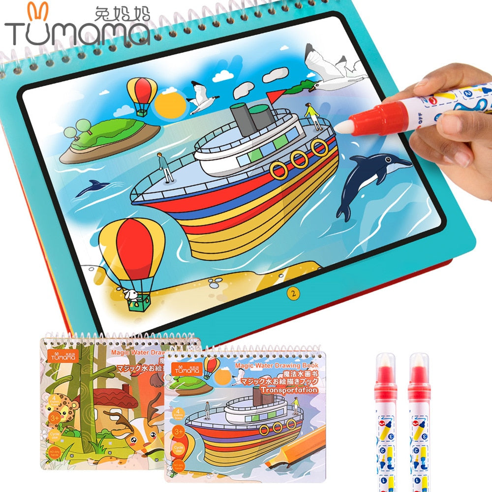Tumama Magic Water Drawing Book Animal Marine Life Letter Number Coloring Book Doodle Magic Pen Drawing Board Kids Painting Toys