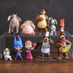 Masha & Bear & Friends Rabbit Squirrel Penguin Goat Pig PVC Figures Toys 10pcs/set