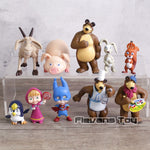 Cartoon Masha & Bear PVC Action Figures Painter Snow Maiden Dolls Figurines Kids Toys Gift 10pcs/set