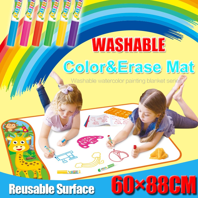 New Arrivals Color and Erase Mat Reusable Drawing Board with 6 Watercolour Makers Doodle Coloring Mat Educational toys for kids