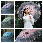 4 Colors Transparent Women Umbrella 2018 Clear Rain Umbrella Cherry Blossom Mushroom Apollo Sakura 3 Fold Umbrella #FG29