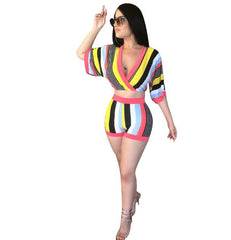 Sexy 2 Piece Set Women Stripe Tops+Bodycon Shorts Suit Casual Summer Outfits Plus Size