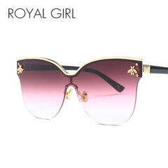 ROYAL GIRL Oversize Rimless Sunglasses Women 2018 Fashion Cat Eye Bee Sun Glasses Female Retro Brand Designer Oculos UV400 ss735