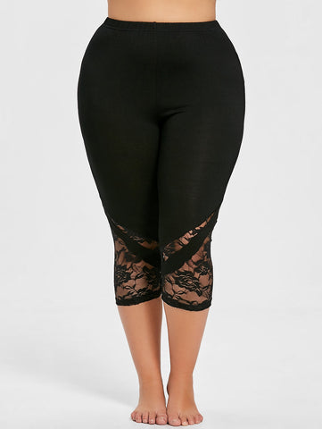 Lace Panel Plus Size Capri Skinny Leggings