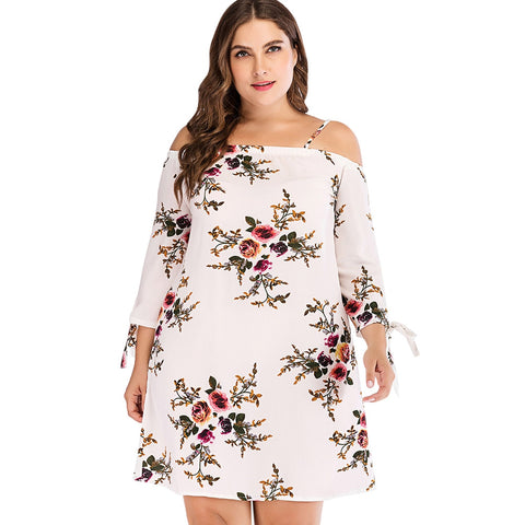 Plus Size Cut Out Floral Print Dress