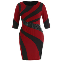Plus Size Striped Detail Bodycon Dress