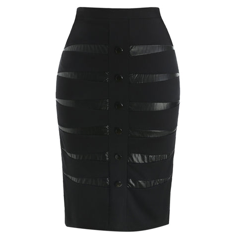 Plus Size Buttoned Detail Skirt
