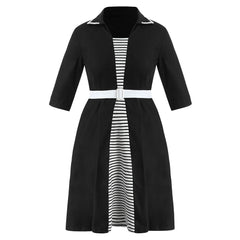 Plus Size Striped Detail Belted Dress