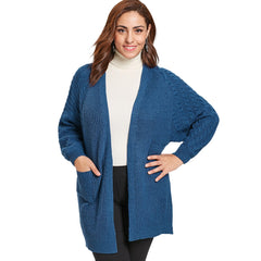 Plus Size Front Pocket Cable Knit Cardigan