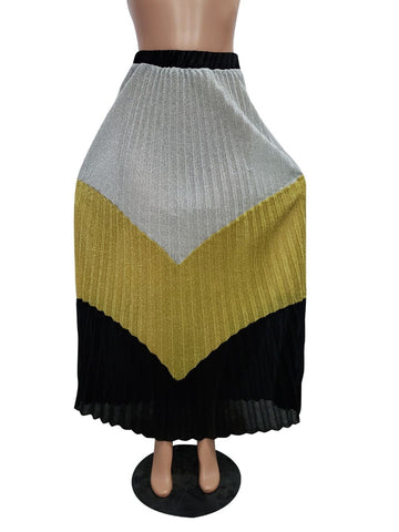 Sexy Women Plus Size Skirts Color Patchwork Night Club Ladies Maxi Skirts