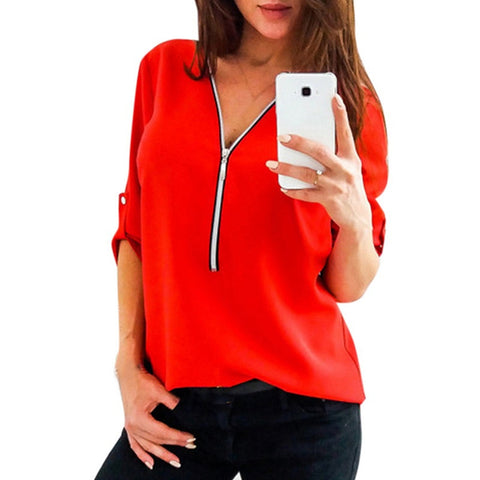 Solid Zipper Shirt Loose Plus Size 5XL Long Sleeve Chiffon Blusas Tops New Women Sexy V Neck Casual Summer Blouse