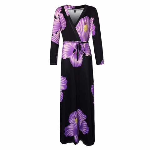 L-5XL women fat plus size dress Flower Print Maxi Dress Women Casual Elegant Long Dresses D1194