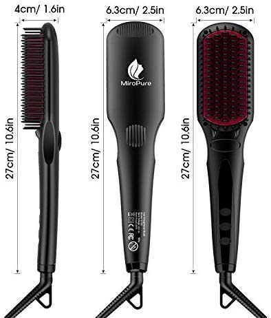 Enhanced Hair Straightener Brush by MiroPure, 2-in-1 Ionic Straightening Brush with Anti-Scald Feature, Auto Temperature Lock & Auto-Off Function (Black): Health & Personal Care