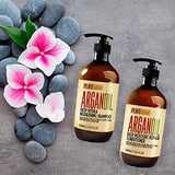 Moroccan Argan Oil Shampoo and Conditioner SLS Sulfate Free Organic Gift Set - Best for Damaged, Dry, Curly or Frizzy Hair - Thickening for Fine/Thin Hair, Safe for...