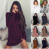 Women Winter Dress Knitted Dress Turtleneck Long Sleeve Slim Loose Dress Sweaters Pullovers Plus Size Streetwear Clothing