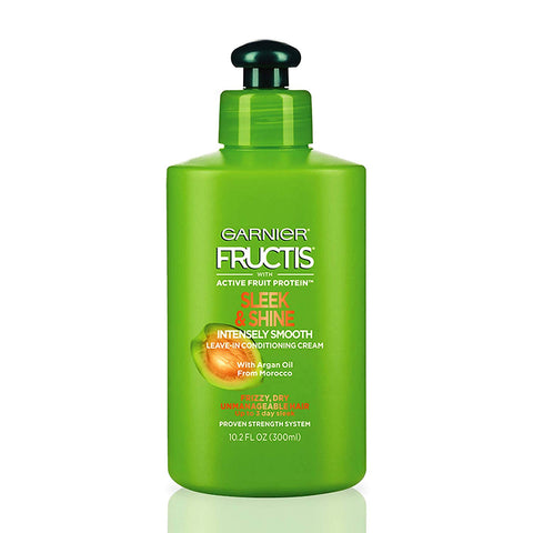 Garnier Fructis Sleek & Shine Shampoo, Condition + Leave-In Conditioning Cream Kit, (Personal Size S&C)