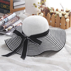Hepburn Wind Black White Striped Bowknot Summer Sun Hat Beautiful Women Straw Beach Hat Large Brimmed Hat