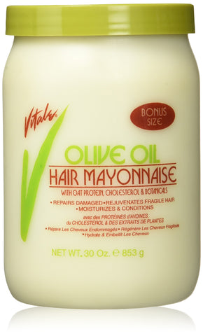 Vitale Olive Oil Hair Mayonnaise 30oz with Oat & Egg Protein and Vitamins - Good on Color & Thermal Treated Hair - for Dry & Damaged Scalp Men, Women & Kids -Moisturize...