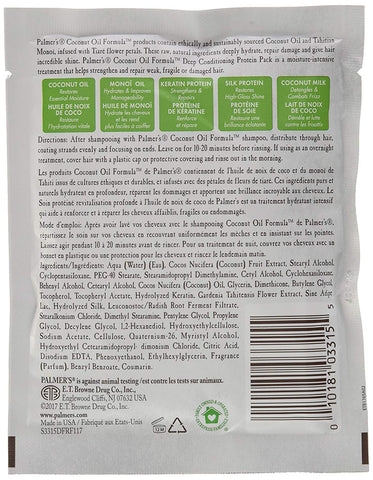 Palmers Coconut Oil Formula Deep Conditioning Protein Pack, 2.1 Oz (Pack of 4)