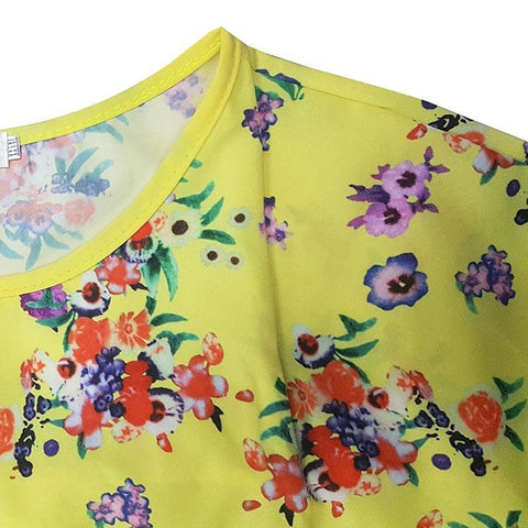New Summer Dress Womens Casual Straight Floral Print Dress Big Size Ladies Party Dress-PLEASE CHECK DESCRIPTION FOR SIZES