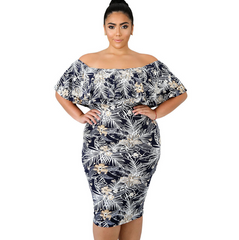 Women Dress Summer Plus Size Floral Print Elegant Party Dresses O Neck Ruffle Textured  Midi Dress