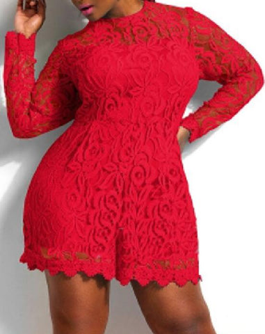 Solid Color Hollow Out Long Sleeve Lace Rompers Plus Size Jumpsuit XXL XXXL XXXXL Clubwear Sexy Short Playsuit White/Black/Red