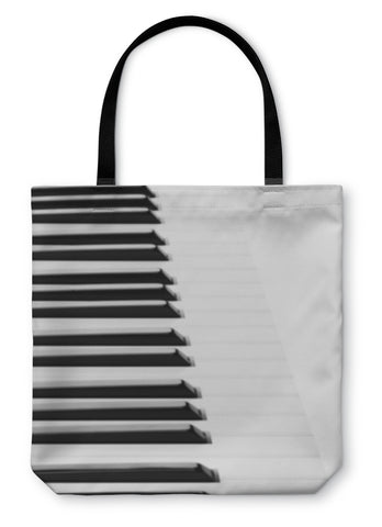 Tote Bag, Piano Keyboard Close Up On White