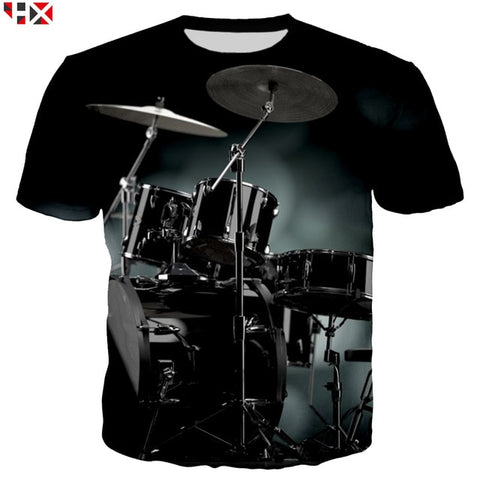 Summer Sale 3D Print 2019 Bass Drum Set Funny T Shirts Unisex High Quality Musical Instrument Men T Shirt Short Sleeve Tops X218
